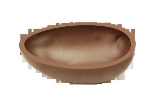 Halbeischale glatt, 10cm, Milch Ambra